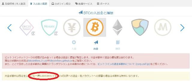 zaifでのBITCOIN(ビットコイン)の送金手数料は、0.001BTC
